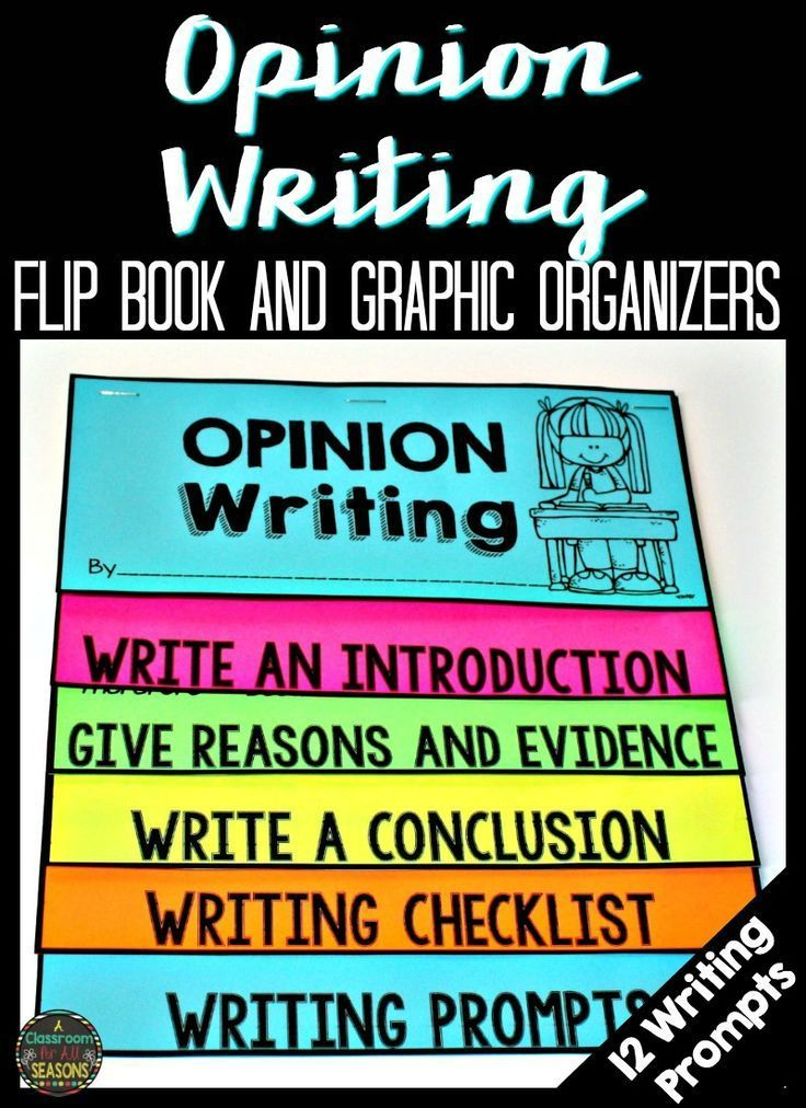 Opinion Writing Flip Book and Graphic Organizers make writing center set up easy! Includes 12 fun writing prompts.