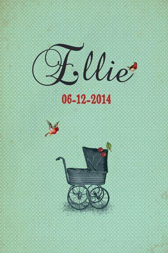 Geboortekaartje Ellie - meisje - Pimpelpluis - https://www.facebook.com/pages/Pimpelpluis/188675421305550?ref=hl (# retro - vintage - koets - dieren - vogel -kers - origineel)
