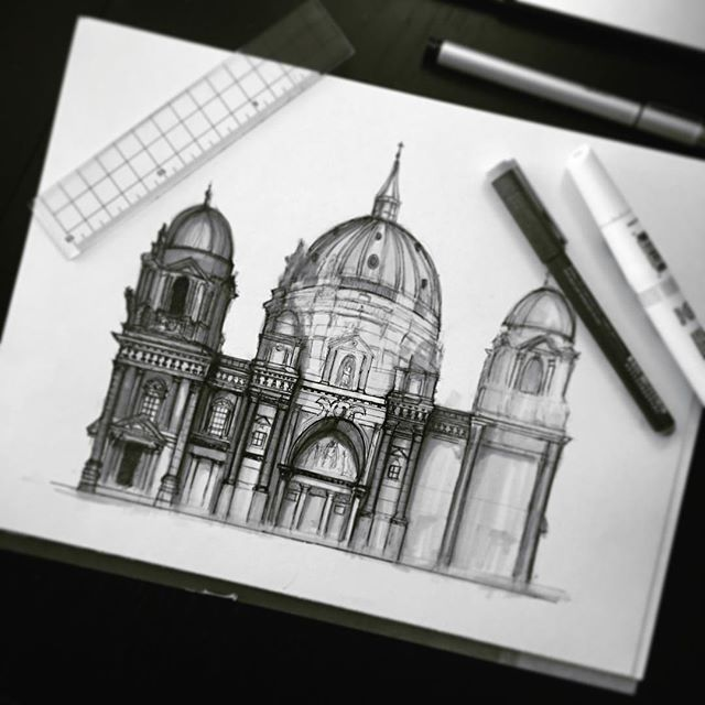 Filling in. The #Copic 0.03 multiliner is the best thing eeeeeever #art #artist #design #designer #sketch #sketching #draw #drawing #fineliner #arcitecture #architecture #illustration #artsy #love #berlin #cathedral