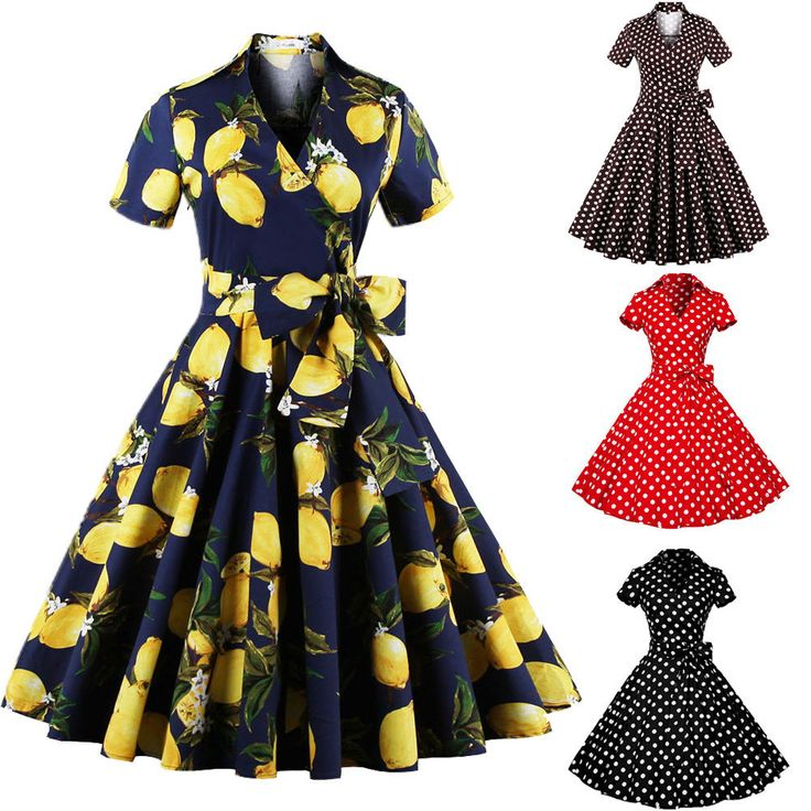 Womens Vintage Retro Floral/Polka Dot 1950s Housewife Cocktail Party Swing Dress #ZAFUL #BallGown #Cocktail