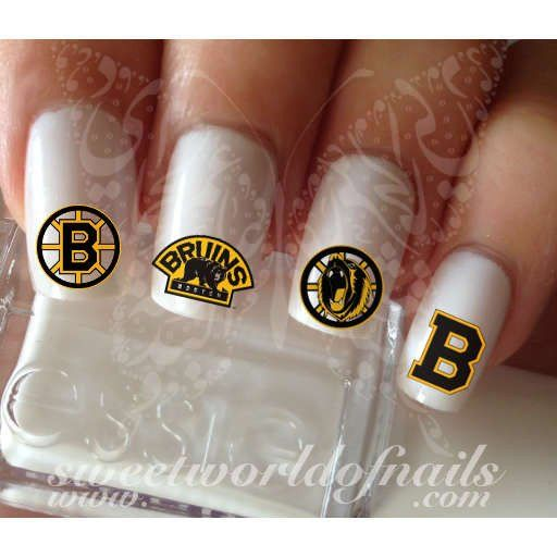 Boston Bruins Nail Art NHL Nails Ice hockey team Nail Water Decals Wraps