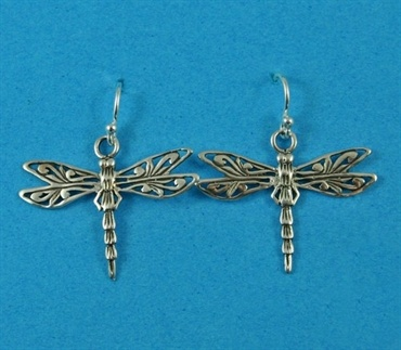 £26.00 incl tax  Sterling silver dragonfly design drop earrings.  Approx 3cm long.