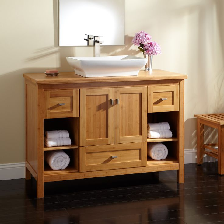 "48"" loei bamboo vessel sink vanity with bamboo top"