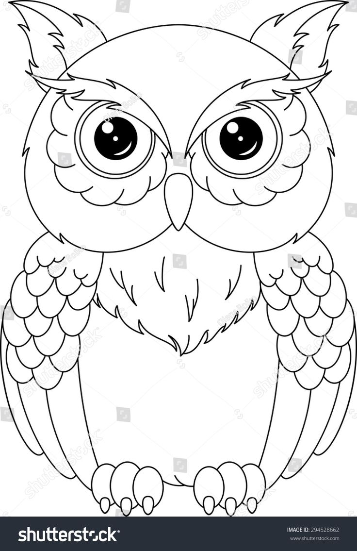 Owl coloring page paper art