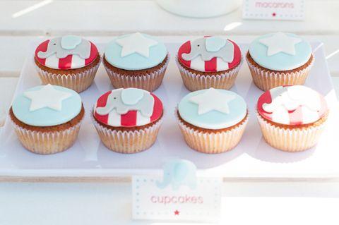 Red, White & Aqua Circus Elephant Cupcakes