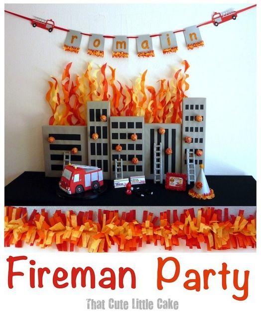 "Photo 1 of 11: Firetruck, Fire Engine, Fireman, Firemen / Birthday ""Fireman Birthday Party"" | Catch My Party"