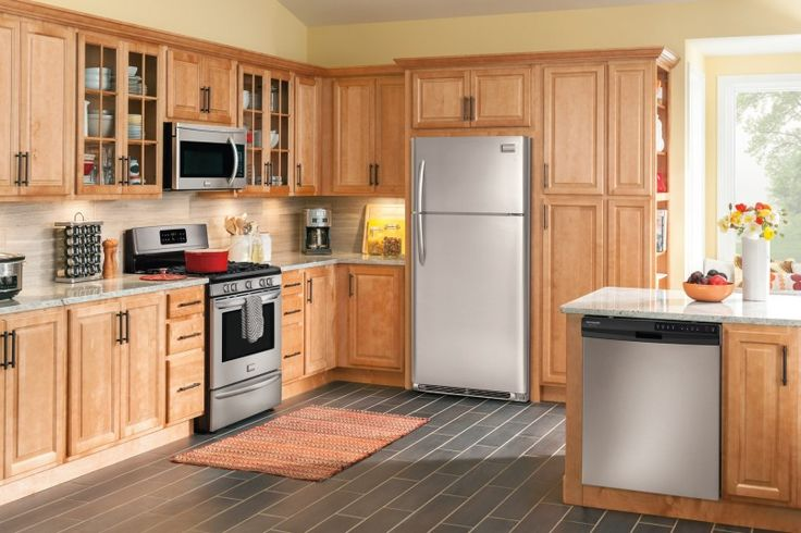 Kitchen Wonderful Maple Kitchen Theme Decoration With Stainless Steel Kitchen Appliance Also Stainless Ice Box Refrigerator And Dishwasher Besides Marble Kitchen Countertop  White Granite Kitchen Island Countertop  Grey Subway Tile Flooring   Best Tips About Finding The Best Kitchen Appliances