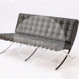 Replica Barcelona Chair - Platinum Edition 2 seater (Black)
