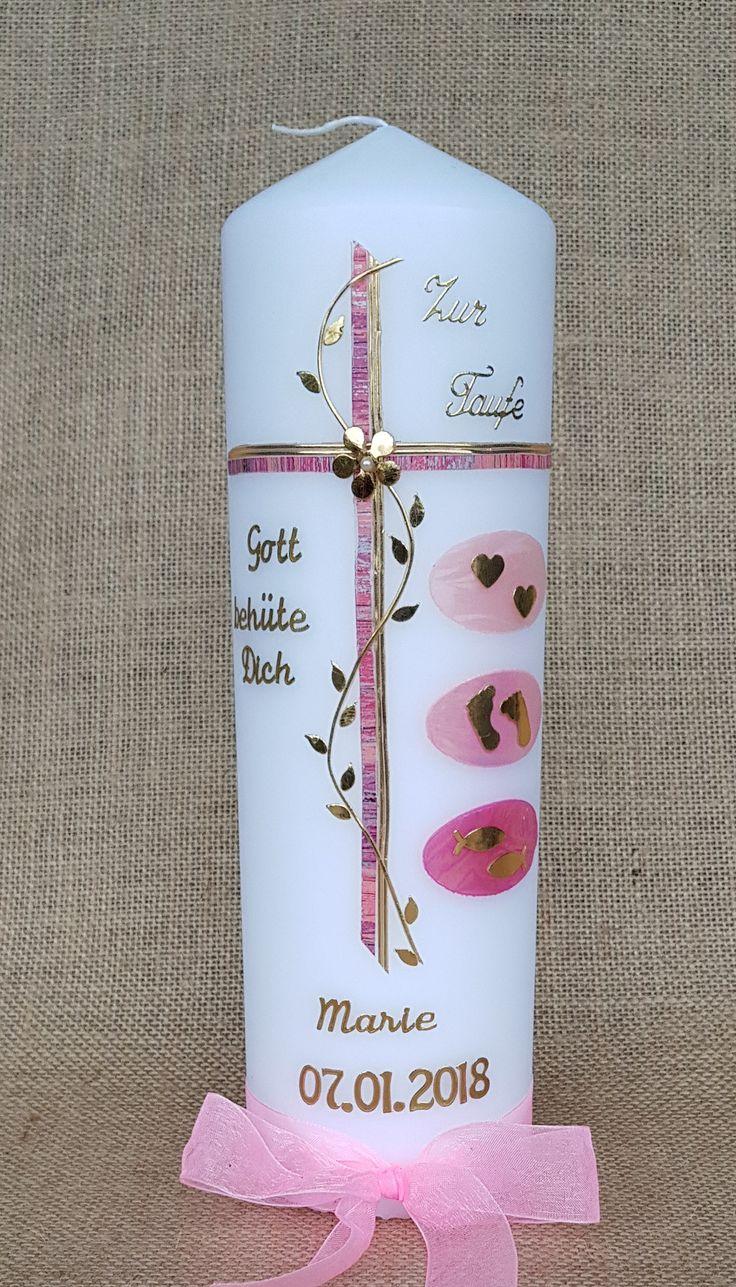 Taufkerzen – Taufkerze Kreuz Mädchen pink – ein D…