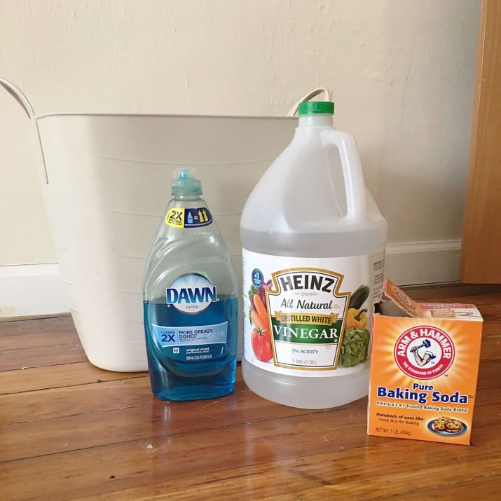 ALL PURPOSE FLOOR CLEANER: 1/4 cup white vinegar * 1/4 cup washing soda or baking soda * 1 teaspoon liquid dish soap * 2 gallons warm tap water.