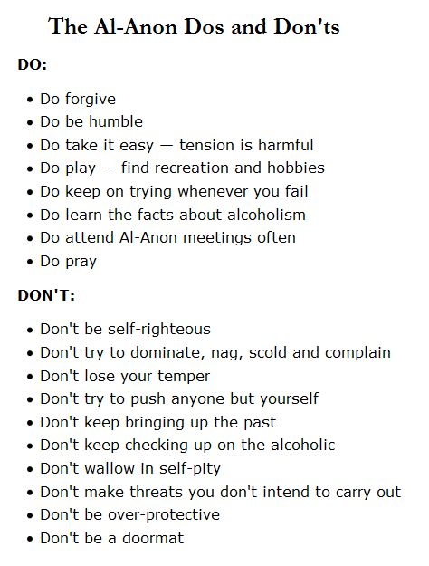 Al-Anon Dos and Don'ts