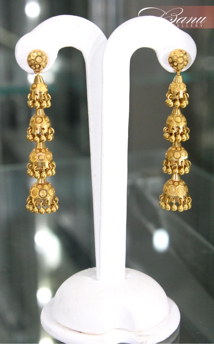 And contemporary gold jhumkas collection by khazana jewellery - Jhumkas Gold Designsjewellery