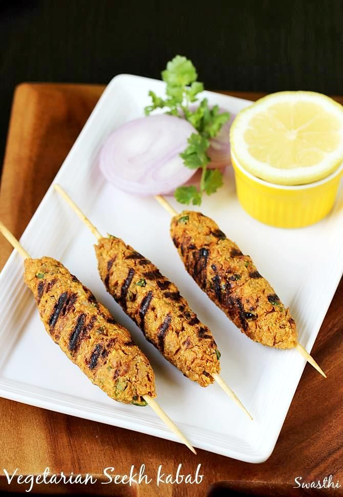 Veg seekh kabab made with mixed veggies and soya granules. These can be grilled in a pan, char coal grilled or oven grilled. Delicious & addictive !!!