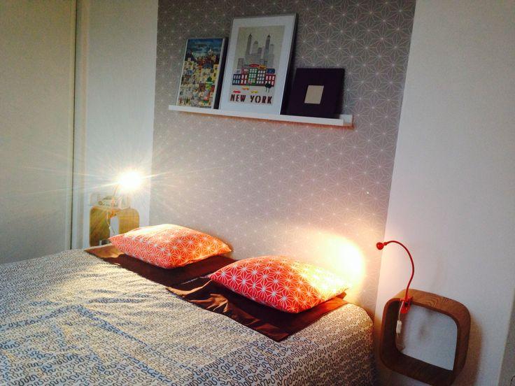 Tête de lit papier peint ikea, inspiration scandinave,