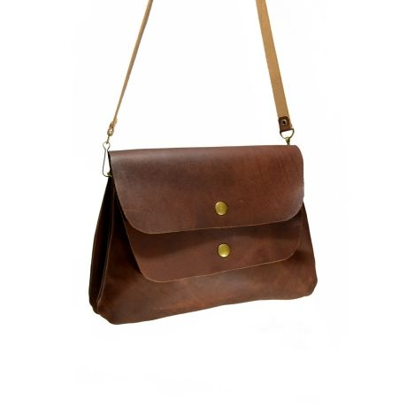 Red Oker Cheer Twin Satchel – Dark Brown from The Love of Leather - R699 (Save 29%)