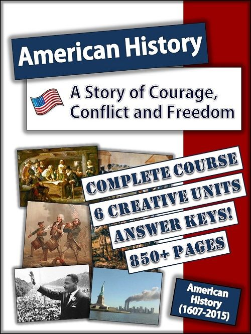 New! Complete American History course from the Original Colonies to the present! Answer keys, teacher guides and lots of fun activities!