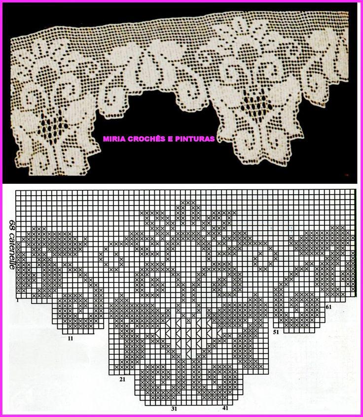 MIRIA CROCHÊS E PINTURAS: BARRADOS DE CROCHÊ COM MOTIVOS FLORAIS N° 661