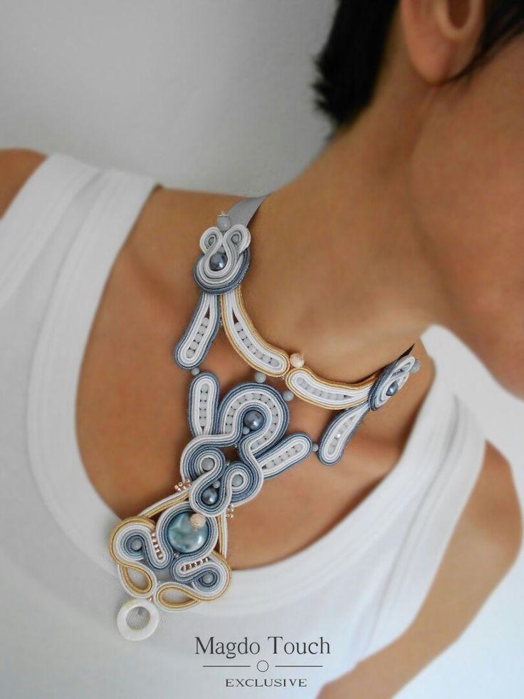 OOAK soutache necklace. Custom order - mini collection 'Le petit jardin' #soutache #necklace #unique #design #magdotouch #artistic #jewelry