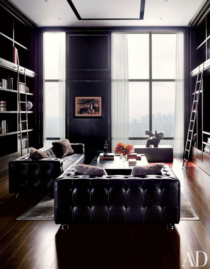 Interior design by ODA Architects | a black sofa is perfect to achieve a classic and masculine living room | Modern Sofas http://modernsofas.eu/2016/03/07/home-ideas-attractive-black-sofa/ Living room furniture sets. #modernsofas #blacksofa #chesterfieldsofa