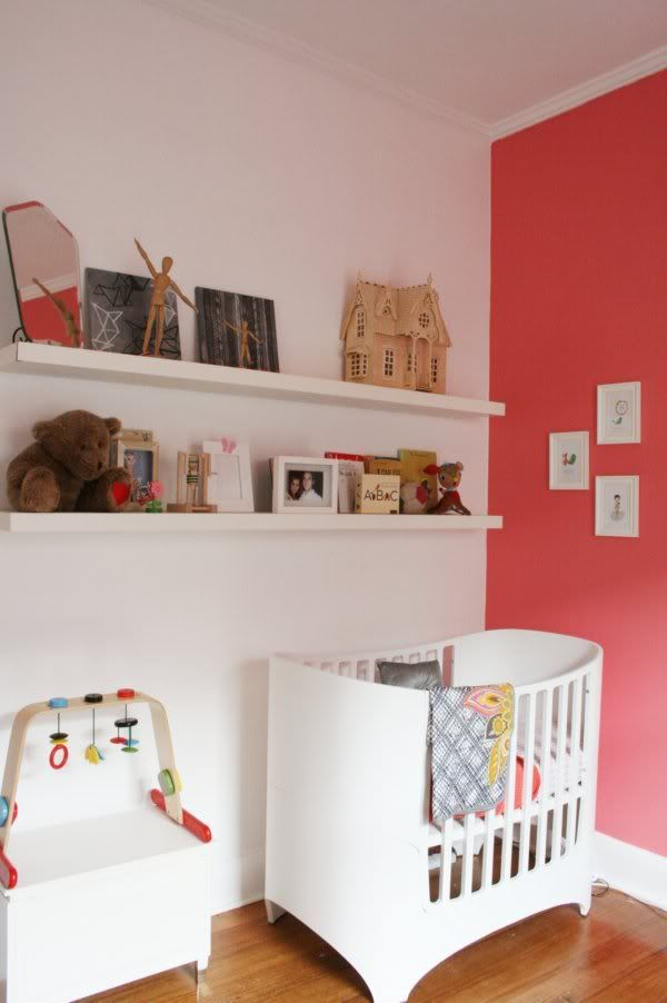Coral And White Modern Nursery | Leander Crib White