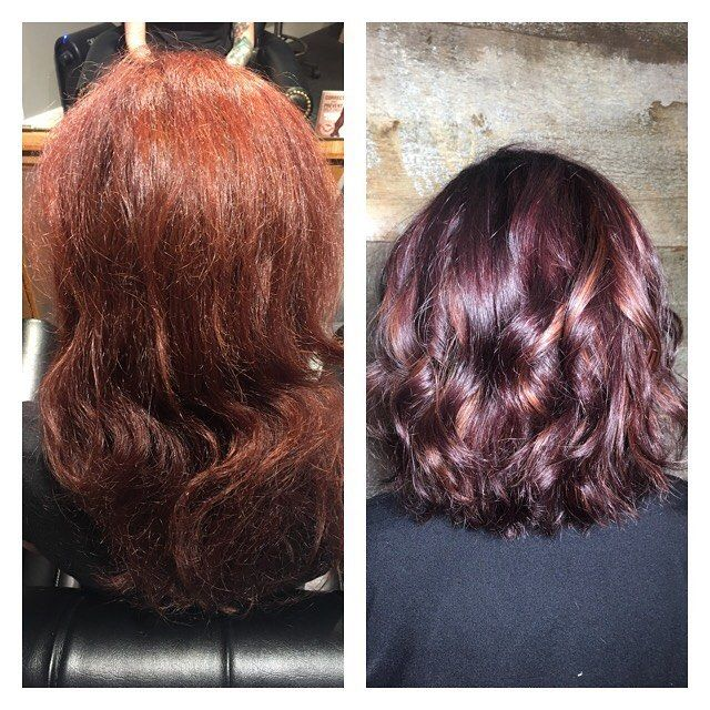 Before and after 💕 From copper to a fun dark Violet with peekaboo highlights for dimension, and a big chop 💇🏻 I think we both loved this big change!  What's the number one thing you wish you could change about your hair? Put it in the comments below! #goodhair #hairstylist #beautylaunchpad #americansalon #behindthechair #btc #modernsalon #hotonbeauty #imallaboutdahair #hairartist #hairlove #hairdresseroftheyear #beforeandafter #tlg #lookingglass #haircare #moroccanoil #Hairoftheday…