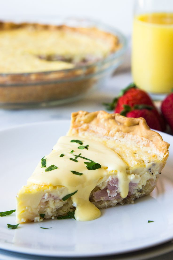 Eggs Benedict Quiche! This super easy to make quiche comes out with perfectly flakey crust, creamy egg and bites of canadian bacon. Not to mention it's smothered in an easy to make blender hollandaise sauce. Perfect for brunch and upcoming Mother's Day!