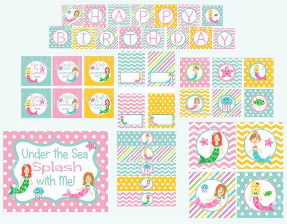 Digital Mermaid Party Package,  Mermaid Party Decoration, Mermaid Birthday Party, PDF Printable INSTANT DOWNLOAD on Etsy, $28.00