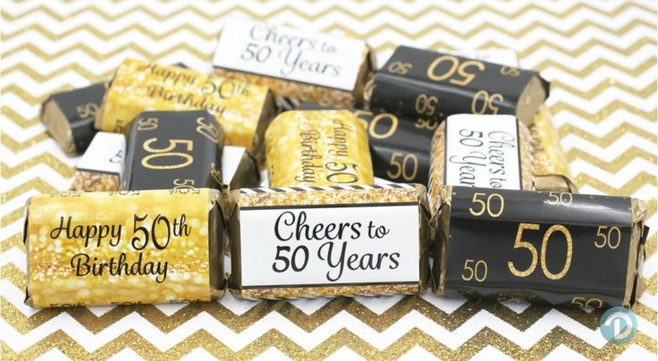 50th Birthday Party Decorations - Gold & Black - Stickers for Hershey's Miniature Bars (Set of 54)