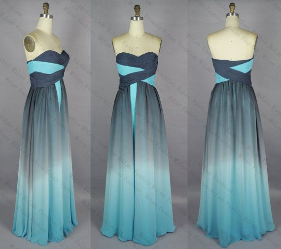 Gradient Chiffon Prom Dress,Bridesmaid Dress, A Line Strapless Sweetheart Wedding Dress, Evening Dress,Wedding gown,Prom Gown by MiLanFashion, $163.00