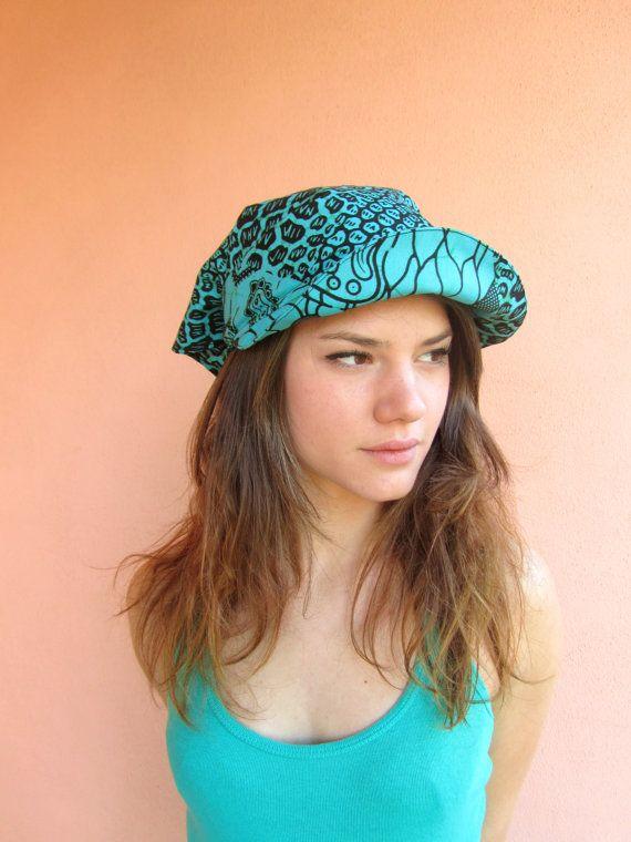 Chapeau d'été turquoise  plage pare-soleil tissu par nad205 sur Etsy