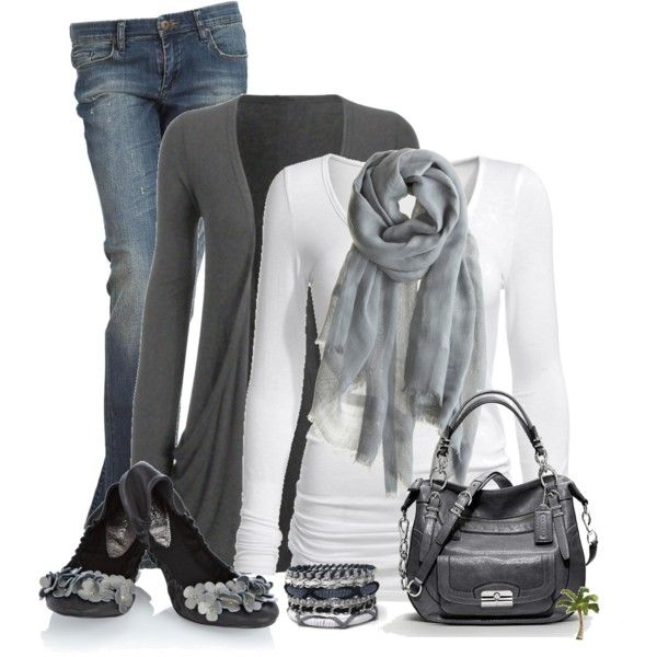 Cute Casual Outfits 2012 | Grey cardigan and tee