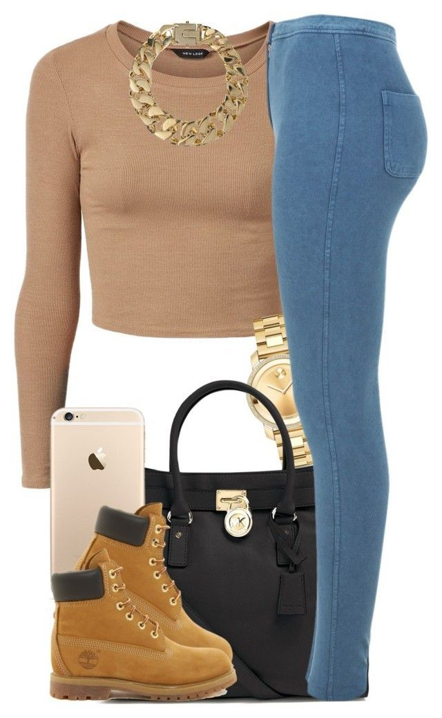 """Tan."" by livelifefreelyy ❤ liked on Polyvore featuring Movado, MICHAEL Michael Kors, Miss Selfridge, Timberland and AllSaints"