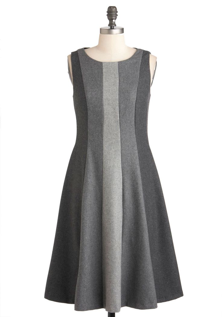 $344.99 This is a perfect winter dress! Lesson in Greyscale Dress by Eva Franco - Work, A-line, Sleeveless, Winter, Long, Grey