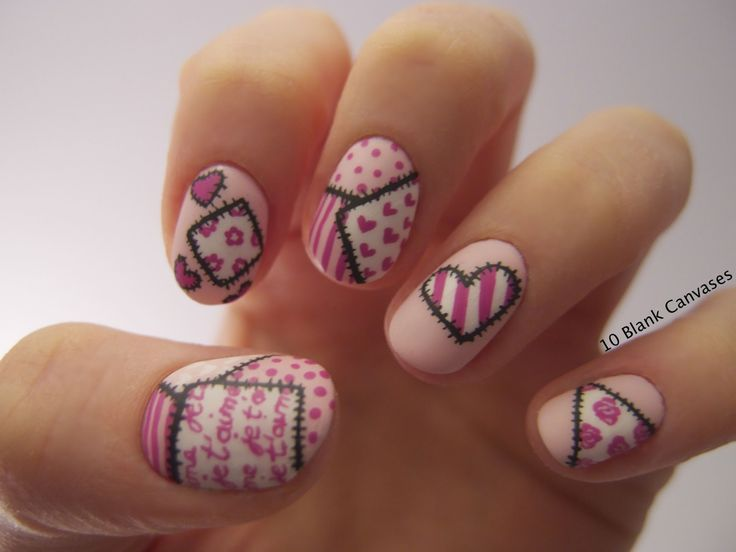 Nail Image of the Week on Inspirationail. Nails by 10 Blank Canvases: Valentines Day Nails. 10th March 2013