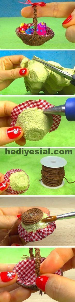Miniatur | Einfache DIY Ostern Korb Ideen für Jug…
