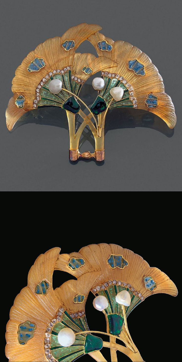 An Art Nouveau gold, horn, paste, enamel and diamond hair ornament / clip, circa 1900. For similar items by Georges Fouquet, see: Pariser Schmuck, Vom Zweiten Kaiserreich zur Belle Epoque, and Paris, Drouot Montaigne, 14 March 1995, catalogue No.12, Georges Fouquet.