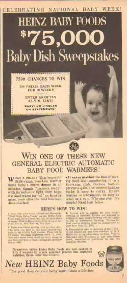 Heinz Baby Food – $75,000 Baby Dish Sweepstakes (1963)  My little sister had one of these.