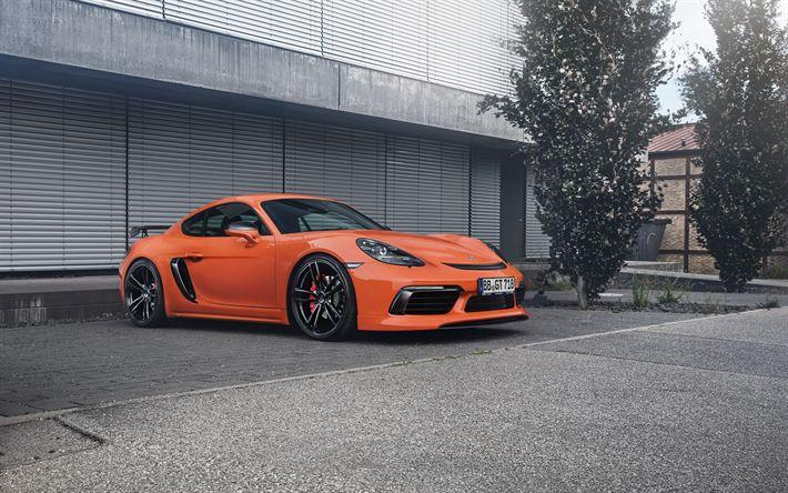 Lataa kuva Porsche Cayman, TechArt, Oranssi Cayman, Kilpa-autot, tuning Cayman, Saksan autoja, Porsche