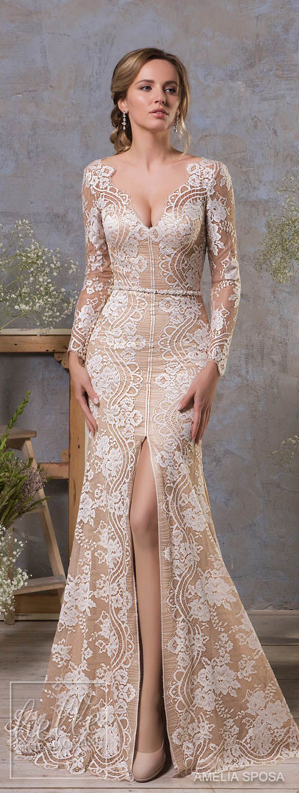 Amelia Sposa Fall 2018 Wedding Dresses - Long sleeve lace bridal gown #weddingdress #bridalgown #bridal #weddinggown #bridalcouture