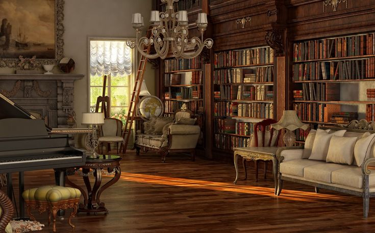Victorian library design library victorian room and for Victorian living room design ideas