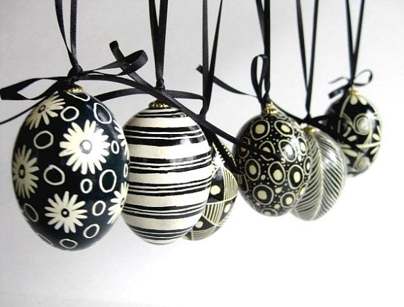 6 Black and White egg ornament set, set of 6 chicken eggs in Black and White, Ukrainian Easter eggs Pysanky on Etsy, $80.00
