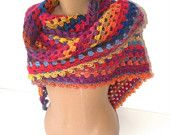SALE Hand crocheted shawl,multicolor women shawl,unique,winter trends,for her,fashion women shawl,stole,spring trends,christmas gift
