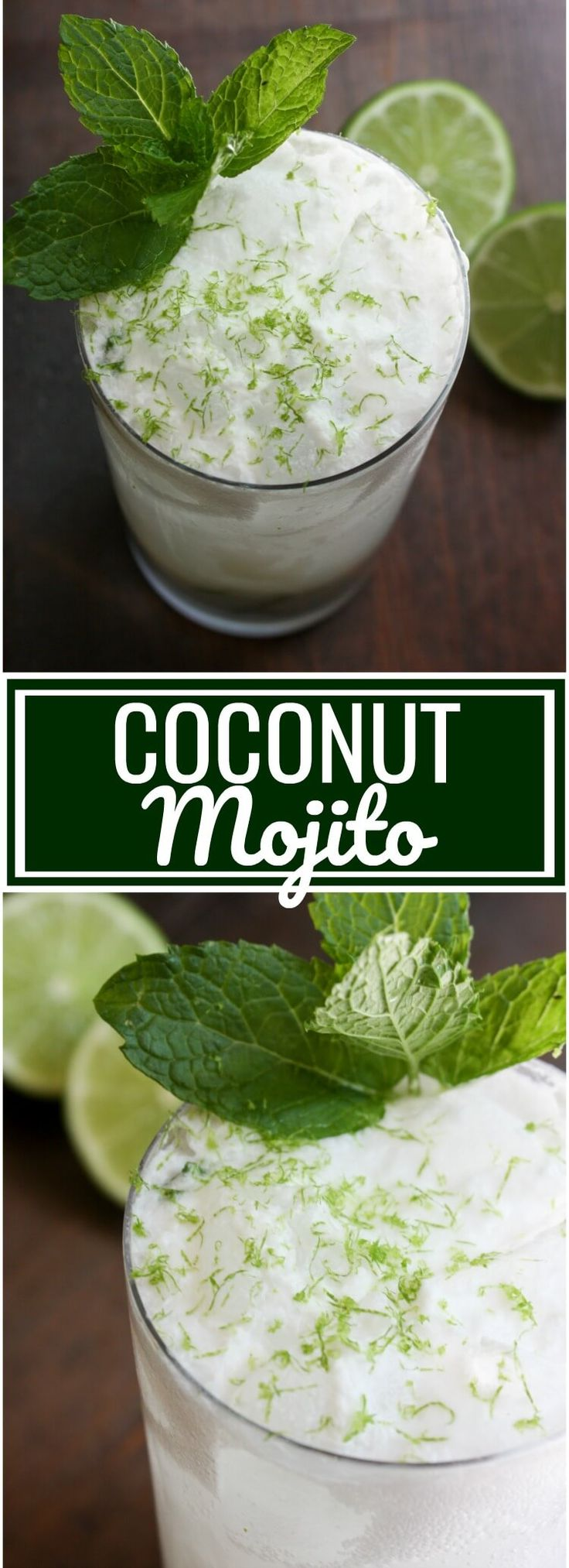 It is Mojito Monday and today's Mojito is this Coconut Mojito made with fresh mint, lime and cream of coconut topped out with club soda.