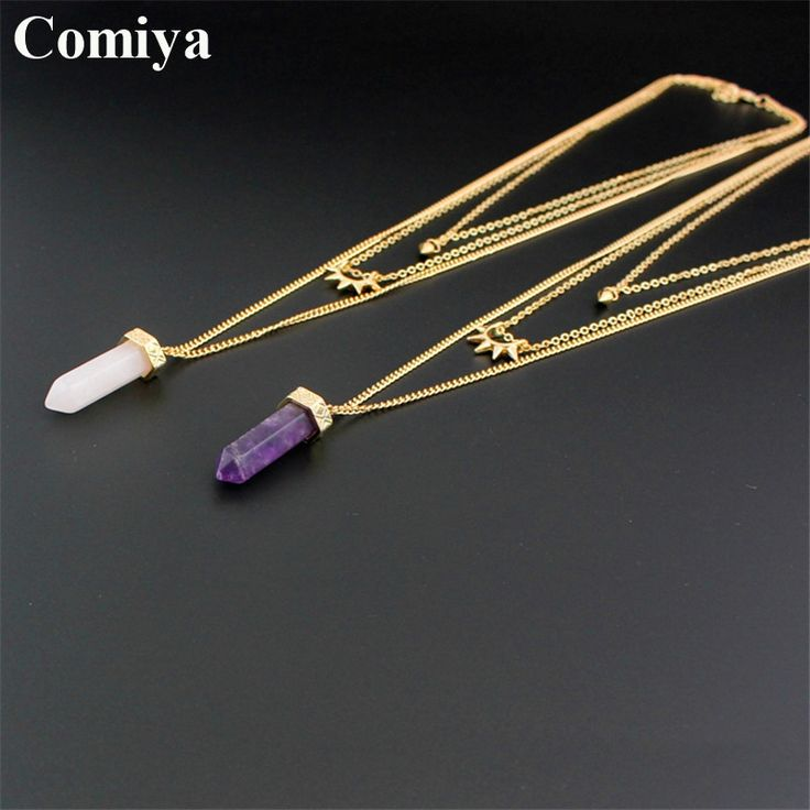 Comiya natural stone marble multi-layers riveting long pendants necklaces cc amethyst collares mujer necklace collier jewelry