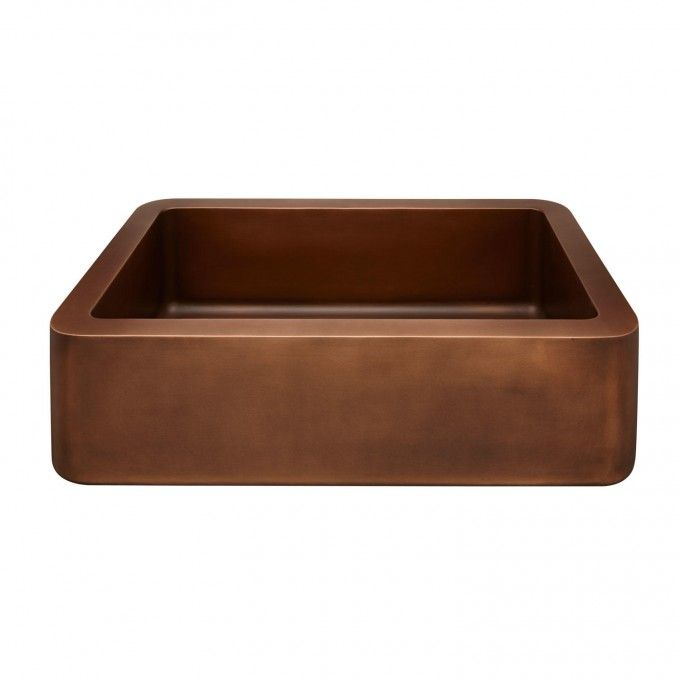 """34"""" Mira Reversible Copper Farmhouse Sink - Smooth Front"""