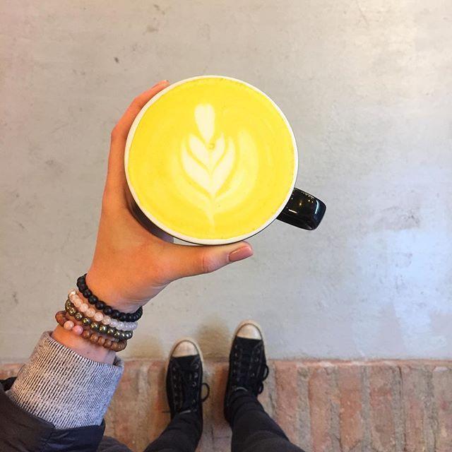 One turmeric latte, please! ☕️ Link in bio to shop our bracelets. ✌🏻 #mindbeads #nourishing