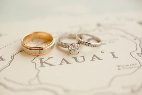 Stylized engagement ring photo: http://www.stylemepretty.com/little-black-book-blog/2014/11/17/intimate-kauai-wedding/ | Photography: Sea Light Studios - http://sealightstudios.com/