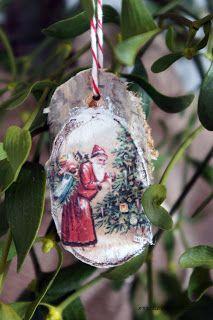 bombki z brzozowych talarków / decoupage na drewnie / turn wooden slices into christmastree ornament