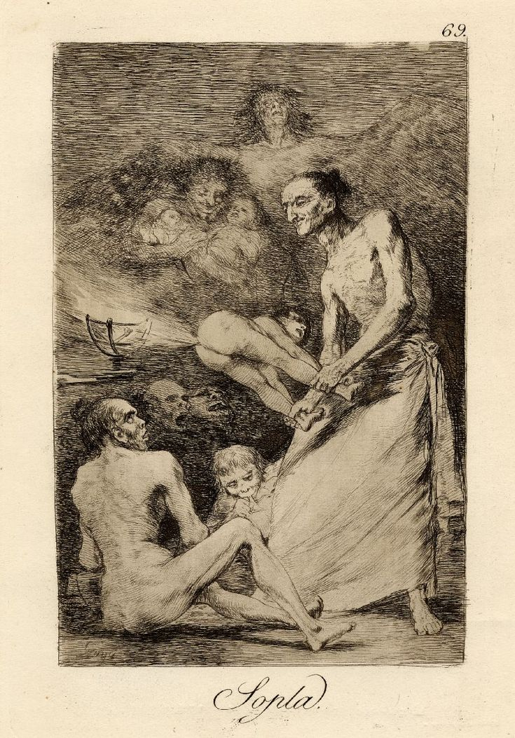 Los Caprichos; Soplaprint; Francisco Goya (Print made by); Plate 69: group of witches, some eating children, one standing holding a small figure who is breaking wind