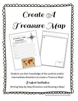 treasure map and treasure hunt cardinal and intermediate directions activity social studues. Black Bedroom Furniture Sets. Home Design Ideas